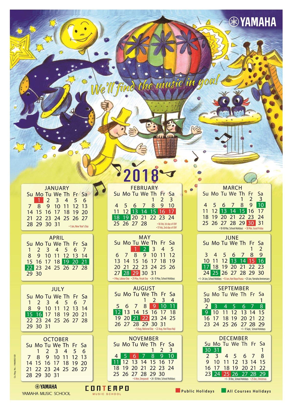 yamaha course calendar 2018