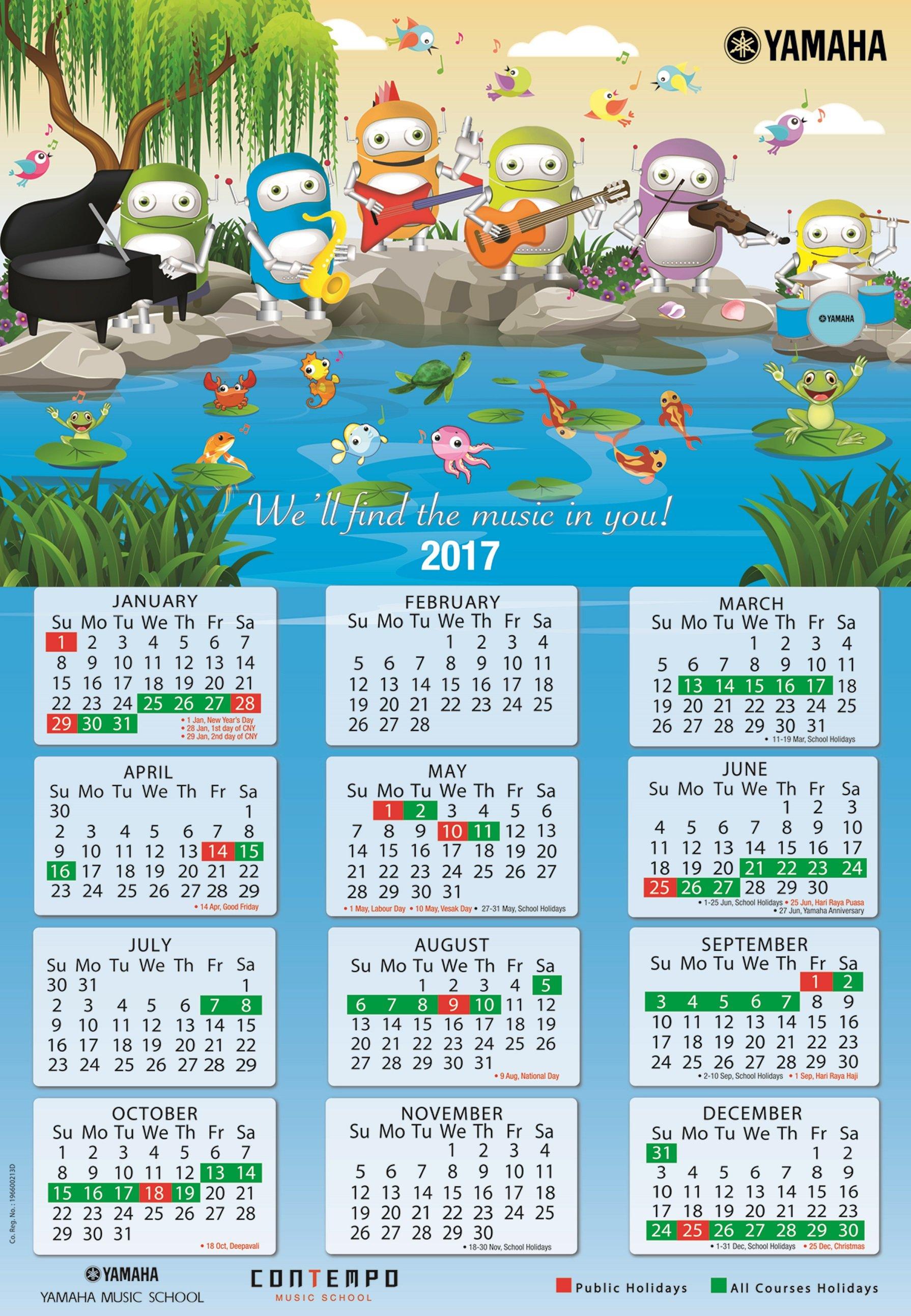 yamaha course calendar 2017